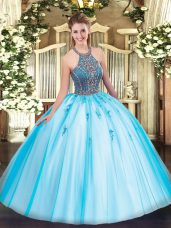 Floor Length Aqua Blue Quinceanera Gown Halter Top Sleeveless Lace Up