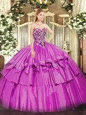 Floor Length Lilac Quinceanera Gown Organza and Taffeta Sleeveless Beading and Ruffled Layers