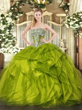 Beading and Ruffled Layers Quinceanera Dress Olive Green Lace Up Sleeveless Floor Length
