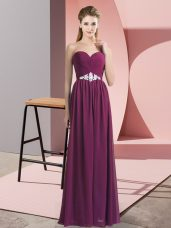 Cheap Dark Purple Sweetheart Neckline Beading Juniors Party Dress Sleeveless Lace Up