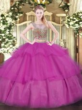 Sleeveless Lace Up Floor Length Beading and Ruffled Layers 15th Birthday Dress