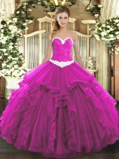 Captivating Organza Sweetheart Sleeveless Lace Up Appliques and Ruffles Sweet 16 Dresses in Fuchsia