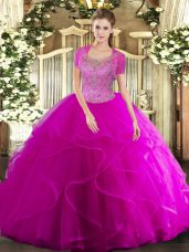 Affordable Fuchsia Ball Gowns Scoop Sleeveless Tulle Floor Length Clasp Handle Beading and Ruffled Layers Vestidos de Quinceanera