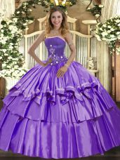 Top Selling Sleeveless Organza and Taffeta Floor Length Lace Up Quinceanera Gown in Lavender with Beading and Ruffled Layers