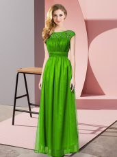 Fashion Sleeveless Chiffon Floor Length Zipper Teens Party Dress in Green with Lace