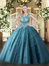 Inexpensive Floor Length Ball Gowns Sleeveless Teal Quinceanera Gown Lace Up