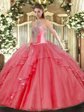 Captivating Sleeveless Floor Length Beading and Ruffles Lace Up Sweet 16 Dresses with Coral Red