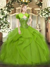 Artistic Floor Length Quince Ball Gowns Tulle Sleeveless Beading and Ruffles