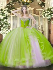 Yellow Green Sweet 16 Dresses Military Ball and Sweet 16 and Quinceanera with Beading and Ruffles Sweetheart Sleeveless Lace Up