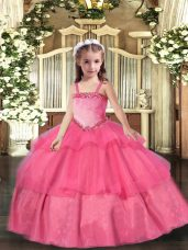 New Arrival Sleeveless Appliques and Ruffled Layers Lace Up Little Girls Pageant Dress Wholesale