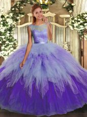 Enchanting Multi-color Sleeveless Beading and Ruffles Floor Length Sweet 16 Dresses