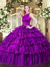 Eggplant Purple Organza Clasp Handle Quince Ball Gowns Sleeveless Floor Length Ruffled Layers