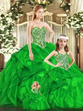 Green Sweetheart Lace Up Beading and Ruffles Quinceanera Dress Sleeveless