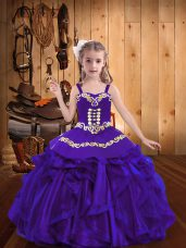 Wonderful Purple Child Pageant Dress Party and Sweet 16 and Quinceanera and Wedding Party with Embroidery and Ruffles Straps Sleeveless Lace Up