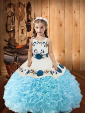 Floor Length Baby Blue Kids Pageant Dress Straps Sleeveless Lace Up
