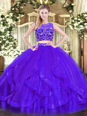 Purple Zipper 15 Quinceanera Dress Beading and Ruffles Sleeveless Floor Length
