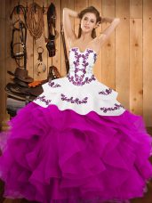 Super Floor Length Ball Gowns Sleeveless Fuchsia Quince Ball Gowns Lace Up