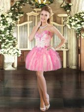 Hot Sale Sleeveless Tulle Mini Length Lace Up Prom Party Dress in Pink with Beading and Ruffles