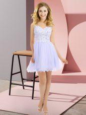 Sweet Lavender Sleeveless Beading and Lace Mini Length Vestidos de Damas