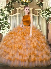 Orange Red Ball Gowns Organza Scoop Sleeveless Ruffled Layers Floor Length Clasp Handle Ball Gown Prom Dress