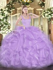 Charming Floor Length Zipper Ball Gown Prom Dress Lavender for Military Ball and Sweet 16 and Quinceanera with Beading and Ruffles