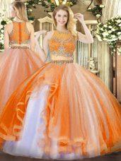 Orange Red Scoop Zipper Beading and Ruffles Quinceanera Gown Sleeveless