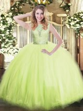 Glittering Yellow Green Sleeveless Floor Length Lace Backless Sweet 16 Dress