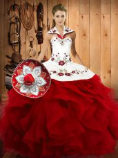 Beautiful Floor Length Wine Red 15 Quinceanera Dress Satin and Organza Sleeveless Embroidery and Ruffles