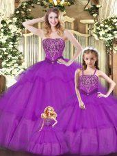 Elegant Purple Organza Lace Up Vestidos de Quinceanera Sleeveless Floor Length Ruffled Layers