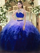 Fantastic Multi-color Two Pieces Tulle High-neck Sleeveless Beading and Ruffles Floor Length Backless Quinceanera Dress
