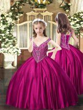 Superior Fuchsia V-neck Neckline Beading Girls Pageant Dresses Sleeveless Lace Up