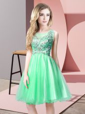Captivating Sleeveless Tulle Knee Length Zipper Prom Dress in Apple Green with Beading