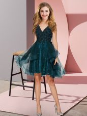 Teal V-neck Backless Appliques and Ruffles Bridesmaid Dresses Sleeveless