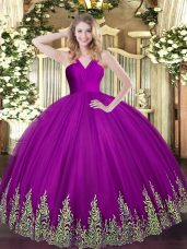 Sleeveless Tulle Floor Length Zipper Quinceanera Dress in Fuchsia with Appliques