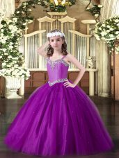 Tulle Straps Sleeveless Lace Up Beading Pageant Dress Wholesale in Eggplant Purple