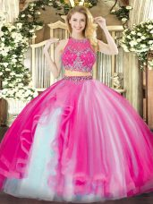 Hot Pink Zipper Quinceanera Gowns Beading and Ruffles Sleeveless Floor Length