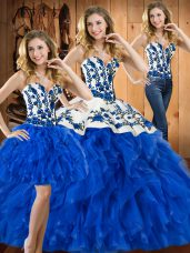 Satin and Organza Sleeveless Floor Length 15 Quinceanera Dress and Embroidery and Ruffles