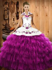 Embroidery and Ruffled Layers Quinceanera Gown Fuchsia Lace Up Sleeveless Floor Length