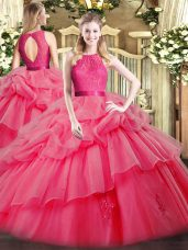 Hot Selling Coral Red Ball Gowns Lace and Ruffled Layers Quinceanera Gowns Zipper Organza Sleeveless Floor Length