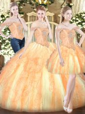 Sumptuous Gold Sweet 16 Dresses Military Ball and Sweet 16 and Quinceanera with Ruffles Off The Shoulder Sleeveless Lace Up