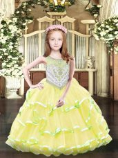 Charming Yellow Scoop Neckline Beading and Ruffled Layers Little Girl Pageant Gowns Sleeveless Zipper