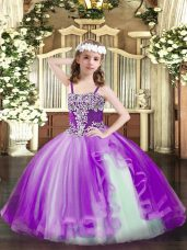 Purple Sleeveless Floor Length Appliques Lace Up Little Girl Pageant Gowns