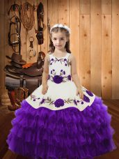 Unique Floor Length Ball Gowns Sleeveless Eggplant Purple Pageant Gowns For Girls Lace Up