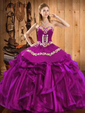 Shining Sweetheart Sleeveless Sweet 16 Quinceanera Dress Floor Length Embroidery and Ruffles Fuchsia Satin and Organza