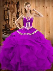 Top Selling Eggplant Purple Sleeveless Satin and Organza Lace Up Quinceanera Dress for Military Ball and Sweet 16 and Quinceanera