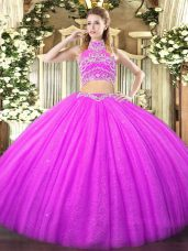 Lilac 15th Birthday Dress Military Ball and Sweet 16 and Quinceanera with Beading High-neck Sleeveless Backless