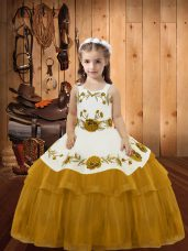 Gold Ball Gowns Embroidery and Ruffled Layers Little Girl Pageant Gowns Lace Up Organza Sleeveless Floor Length