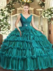 Sleeveless Floor Length Beading and Ruffled Layers Backless Quince Ball Gowns with Teal