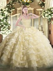 Dramatic Organza Sleeveless Floor Length Quinceanera Gowns and Beading and Ruffled Layers