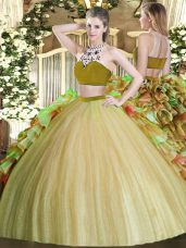 Bateau Sleeveless Backless Ball Gown Prom Dress Olive Green Tulle